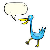 Funny cartoon duck with speech bubble Royalty Free Stock Image