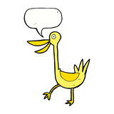 Funny cartoon duck with speech bubble Stock Image