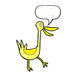 Funny cartoon duck with speech bubble Royalty Free Stock Images