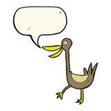 Funny cartoon duck with speech bubble Royalty Free Stock Photos
