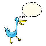 Funny cartoon duck with thought bubble Stock Images