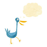 Funny cartoon duck with thought bubble Royalty Free Stock Images