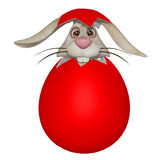 Funny cartoon Easter bunny in the eggshell Royalty Free Stock Images