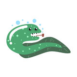 Funny cartoon eel fish smoking pipe colorful character vector Illustration. On a white background Royalty Free Stock Images