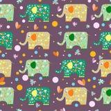 Funny cartoon elephant pattern seamless background Stock Image