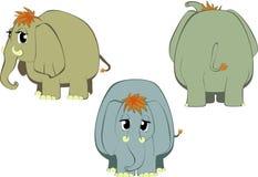 Funny cartoon elephants. Set of three funny cartoon vector elephants Stock Images