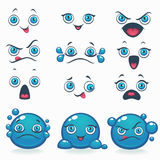 Funny cartoon emotion for your own characters. Eyes, Lips, Smile Royalty Free Stock Images