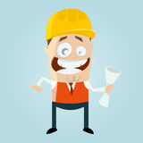 Funny cartoon engineer Stock Images