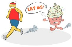 Funny Cartoon evil cake running after the runner and asks him to eat himself. Concept of motivation, diet, sport, fitness, vector illustration