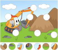 Funny cartoon excavator. Complete the puzzle and find the missin Royalty Free Stock Photo