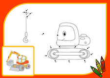 Funny cartoon excavator. Connect dots and get image. Educational Stock Images