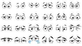 Funny cartoon eyes. Human eye, angry and happy facial eyes expressions vector illustration set
