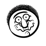 Funny cartoon face, black and white lines vector illustration. Stock Photos