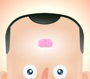 Funny cartoon face of man Stock Image