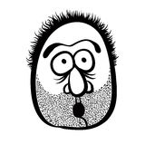Funny cartoon face with stubble, black and white lines vector il stock illustration