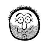 Funny cartoon face with stubble, black and white Royalty Free Stock Photos