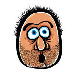 Funny cartoon face with stubble, vector illustration. stock illustration