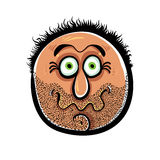 Funny cartoon face with stubble, vector illustration. Royalty Free Stock Photography