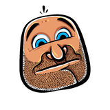 Funny cartoon face with stubble, vector illustration. Stock Image