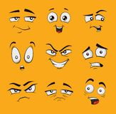 Funny cartoon faces with emotions. Stock Photo