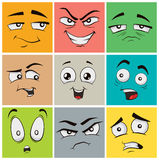 Funny cartoon faces with emotions. Vector clip art illustration. Stock Photos