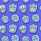 Funny cartoon faces seamless pattern. Royalty Free Stock Photography
