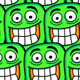Funny cartoon faces seamless pattern. Funny green cartoon faces seamless pattern. Vector format added Stock Image