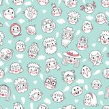 Funny cartoon faces. Seamless pattern. Royalty Free Stock Photos