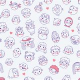 Funny cartoon faces. Seamless pattern. Royalty Free Stock Photography