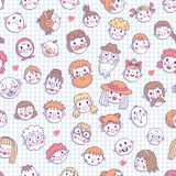 Funny cartoon faces. Seamless pattern. Stock Photo