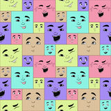 Funny cartoon facial expressions seamless pattern Royalty Free Stock Photos