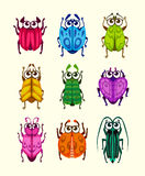 Funny cartoon fantasy bugs set. Comic colorful beetle icons collection. Vector assets for game design vector illustration