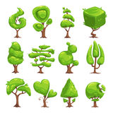 Funny cartoon fantasy shape tree set Royalty Free Stock Photography