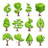 Funny cartoon fantasy shape tree set Royalty Free Stock Photography