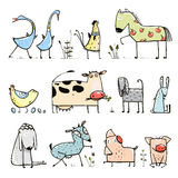 Funny Cartoon Farm Domestic Animals Collection for Stock Photo