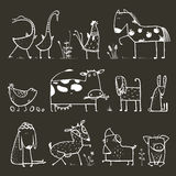 Funny Cartoon Farm Domestic Animals Collection for Royalty Free Stock Photo