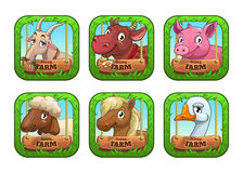 Funny cartoon farm game logo templates. Stock Photography