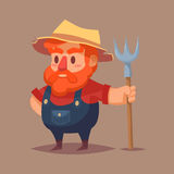 Funny cartoon farmer character Vector clip art illustration stock illustration