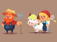 Funny cartoon farmer characters man woman cow Vector clip art illustration Royalty Free Stock Photo