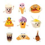 Funny cartoon fast food vector set stock illustration