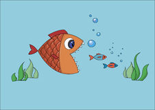 Funny cartoon fish. Trying to eat two small fishes Royalty Free Stock Photos