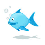 Funny cartoon fish with air bubble. Funny cartoon fish with air bubbles isolated on white background  illustration. Underwater Zoo concept Stock Images