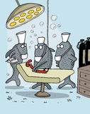 Funny cartoon about fish as doctors. Funny cartoon of fishes as medical team operating a worm underwater Stock Image