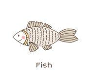 Funny cartoon fish, children illustration Stock Images