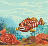 Funny cartoon fish and coral reef. Underwater illustration. Cartoon  illustration - funny smiling fish and underwater coral reef on a blue sea background Stock Photo