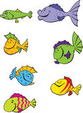 7 funny cartoon fishes. Illustration set of seven funny colorful emotional cartoon fishes Stock Illustration