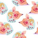 Seamless sleeping pig pattern vector illustration