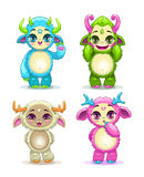 Funny cartoon fluffy baby monsters set Royalty Free Stock Image
