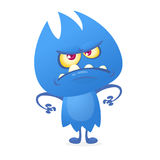 Funny cartoon fluffy blue monster alien creature character. Vector illustration for Halloween Royalty Free Stock Photos