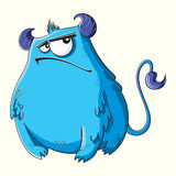 Funny cartoon fluffy blue monster Royalty Free Stock Images